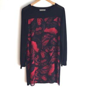 Cluny Graphic Black/Red Knit Dress Size Medium